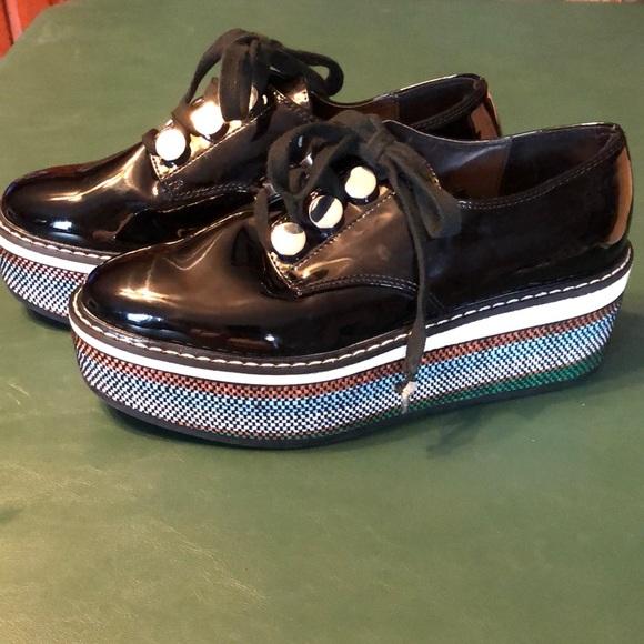 Zara woman platform patent leather look shoes